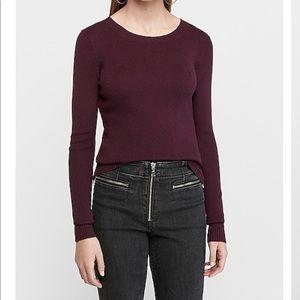 Express Fitted Crew Neck Sweater, Dark Purple